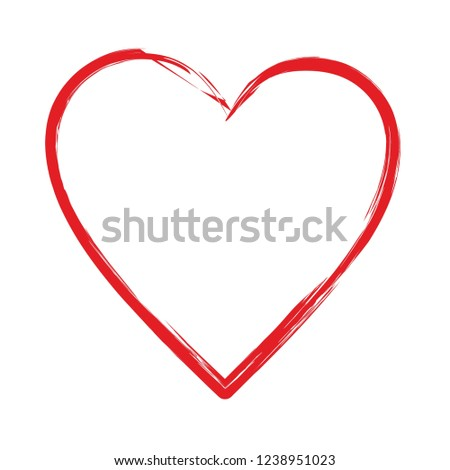Red heart shape vector design element empty blank template isolated on white sign symbol icon frame border