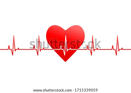 Red heart shape with heartbeat and rate or pulse line as banner, header or design element. Vector illustration isolated on white background.