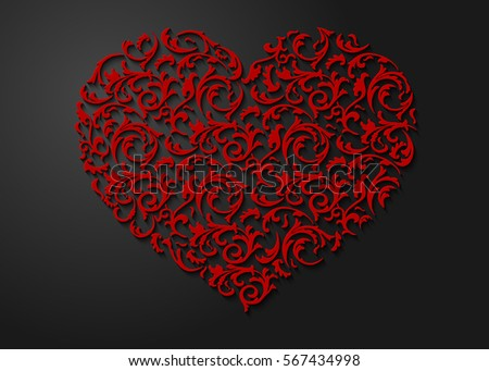 red heart shaped floral pattern