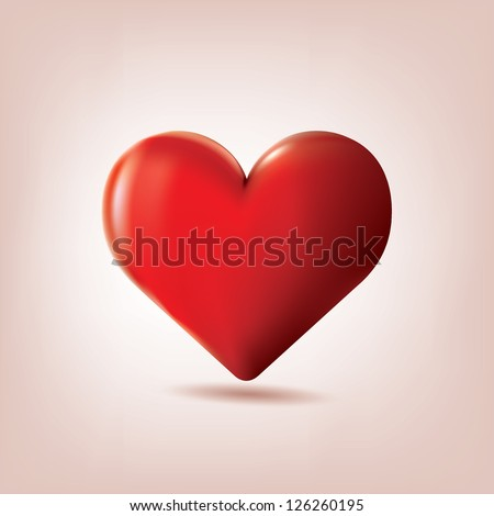 Red heart vector illustration - stock vector