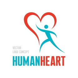 Red heart - vector logo template illustration. Human character sign. Valentine's Day concept symbol. Design element.