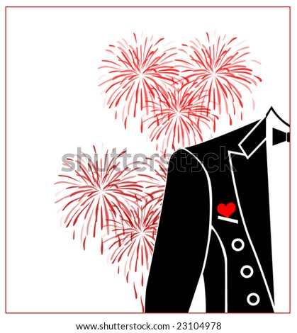 stock vector Red heart wedding boutonniere on suit of groom