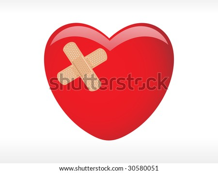 red heart with adhesive plaster, vector medical background
