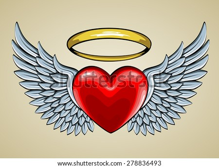 red heart with angel wings and