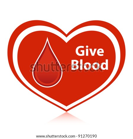 """Red heart with """"Give Blood"""" message."""