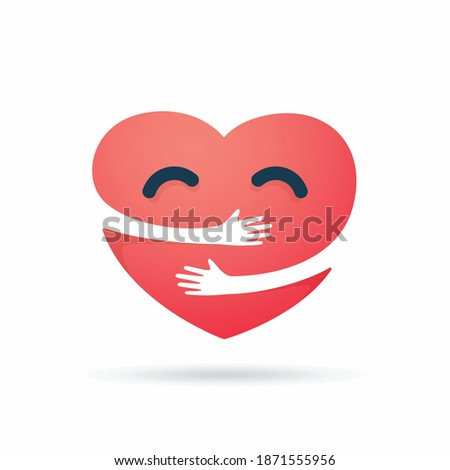 red heart with hand embrace isolated white