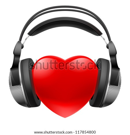 Red heart with headphones. Music concept. Illustration on white