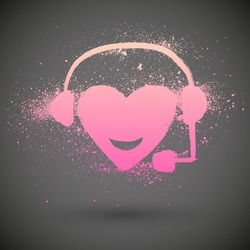 Red heart with headphones. Vector grunge icon.