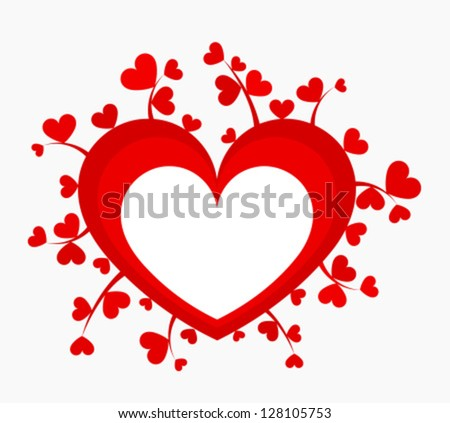 Red heart with many little growing hearts. Vector illustration