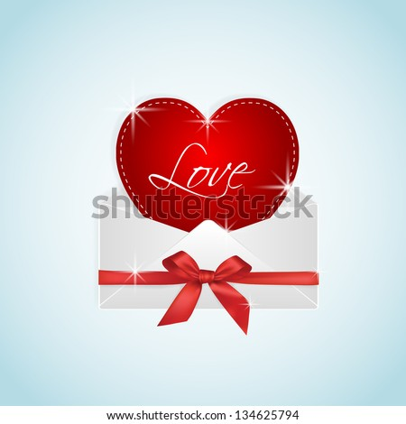 Red heart with stars and LOVE message in envelope gift