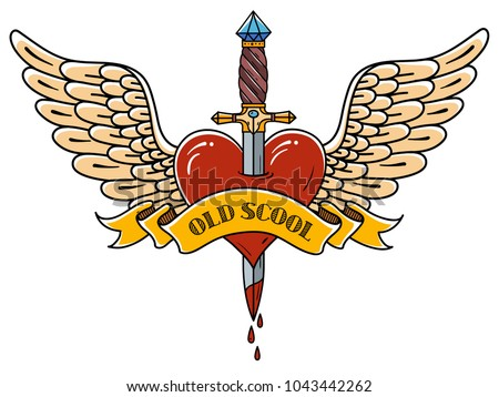 Red heart with wings pierced with ancient dagger. Tatoo dagger piercing flying heart with dripping blood. Heart decorated ribbon with lettering Old School. Retro tattoo.