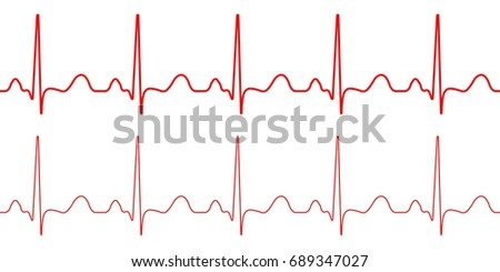 Red heartbeat icon. Vector illustration. Heartbeat sign horizon banner in flat design. Smooth thick and thin lines, template set