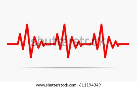 Red heartbeat icon. Vector illustration. Heartbeat sign in flat design.