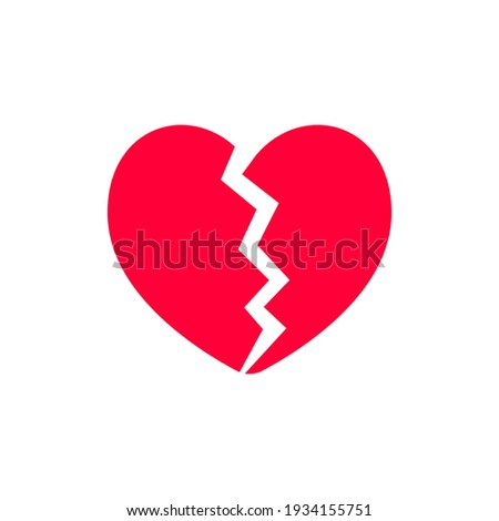 Red heartbreak broken heart or divorce flat vector icon for apps and websites Stock photo ©