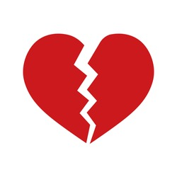 Red heartbreak or broken heart or divorce flat vector icon isolated on white background.