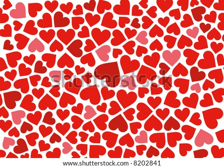 Red hearts background on white. Vector. - stock vector