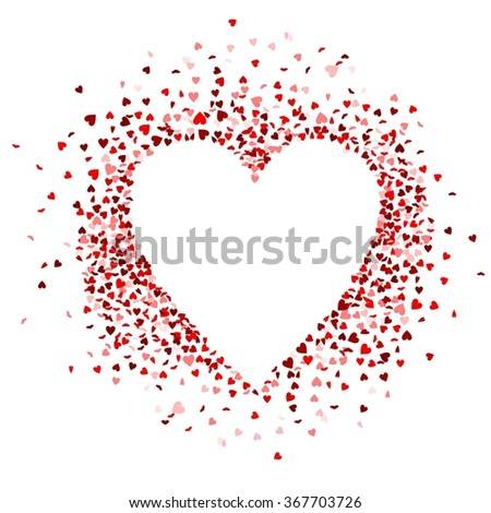red hearts confetti are forming a heart