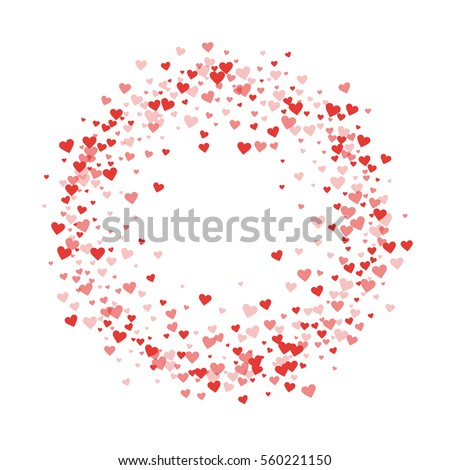 Red hearts confetti. Circle frame on white valentine background ...