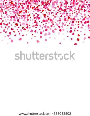 Red hearts confetti frame on white background