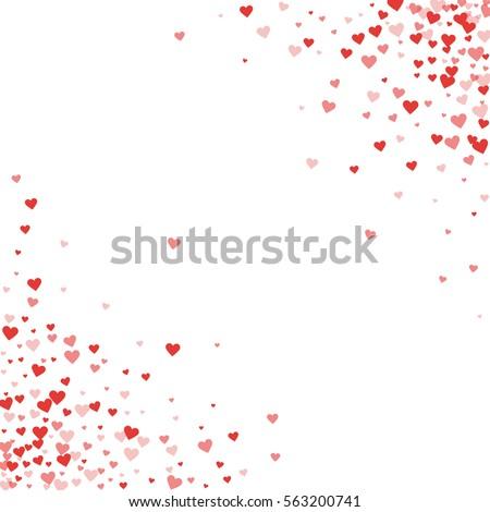 Red hearts confetti. Scatter cornered border on white valentine background. Vector illustration.