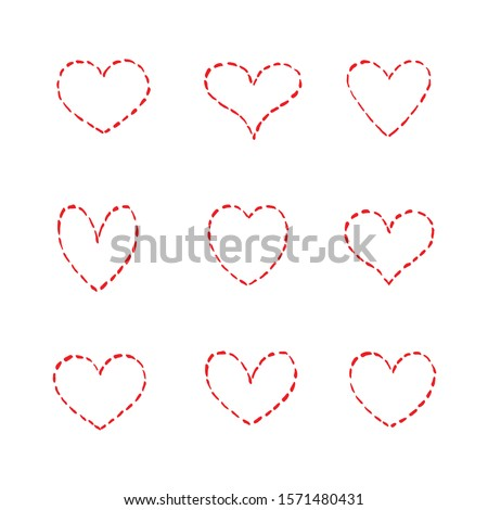 Red hearts dotted set. Vector illustration on a white background. Hand drawing isolated. Valentine's Day. Valentine's Day.