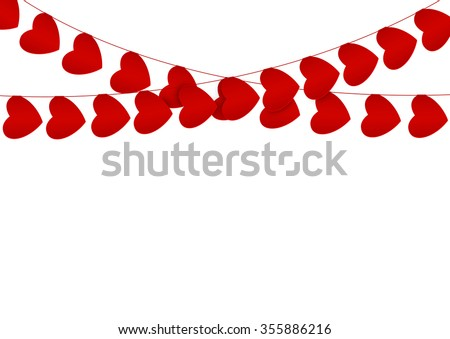 red hearts garlands on white