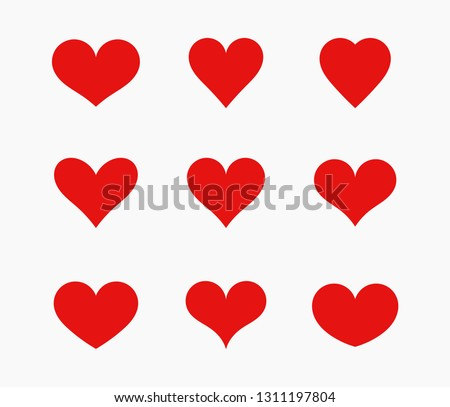 Red hearts icons set. Vector illustration.