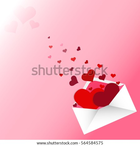 red hearts in love letter on