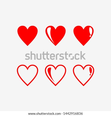 Red Hearts Love Vector Collection