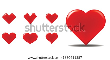 Red hearts on the white background. Heart vectors. 3D vector. Different icons pack. Icon set. Shadows and flares. A lot of cute images.