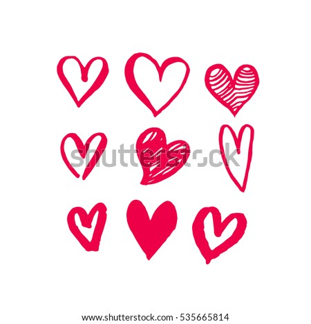 Red hearts pattern of hand drawn sketch heart icons Art design for Valentine day. Marker or felt-tip pen drawing. Romantic pink love symbols set for greeting valentines card element