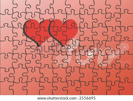 red hearts puzzle ,for Valentine's Day - stock vector