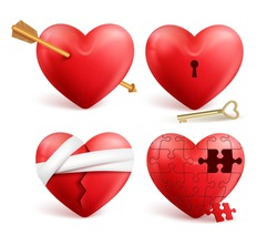 Red hearts vector 3d realistic set with arrows, key holes, puzzle and bandages for valentines day isolated in white background. Vector illustration.