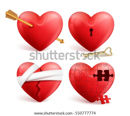 red hearts vector 3d realistic