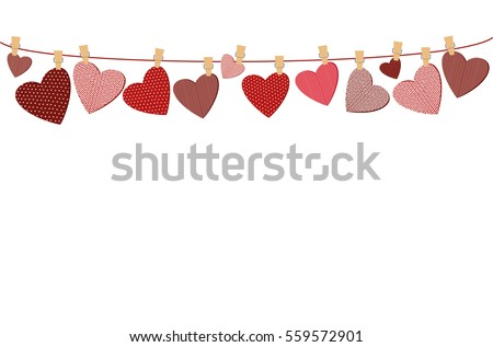 Red hearts  with a picture hanging on a rope. Valentine's Day. Vector illustration. Greeting card with empty space for your label or advertising. On a white background