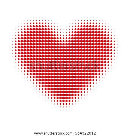 Red hearts with halftone effect isolated on white background