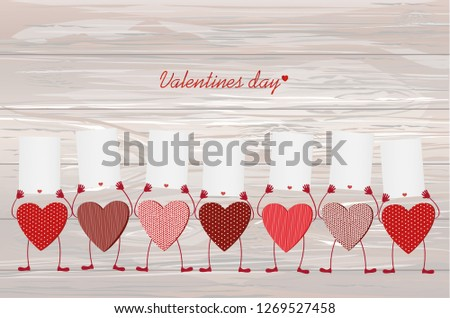 Red hearts with legs and hands holding empty blanks  pages for your text or advertisement.Greeting card on Valentine's Day. Vector illustration on a wooden background.