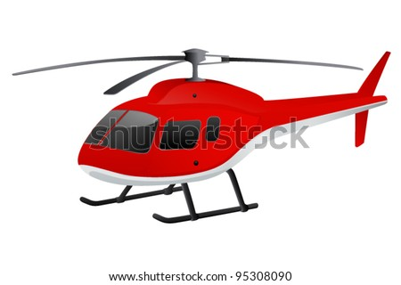 Red helicopter. Vector illustration