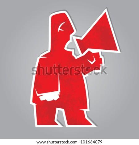 red herald. man shouting through a megaphone. vector symbol