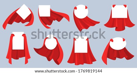 Red hero cape label. White empty badges with super hero, power man cloak. Cartoon vector mockup for kids product advertising. Super cloak hero for discount banner, child fashion mantle illustration