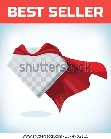 Red hero cape. Super cloak. Red satin fabric flying. Masquerade costume. Female super power. Equality woman. Woman power. Power concept. Leadership sign. Superhero symbol. Manager leader.