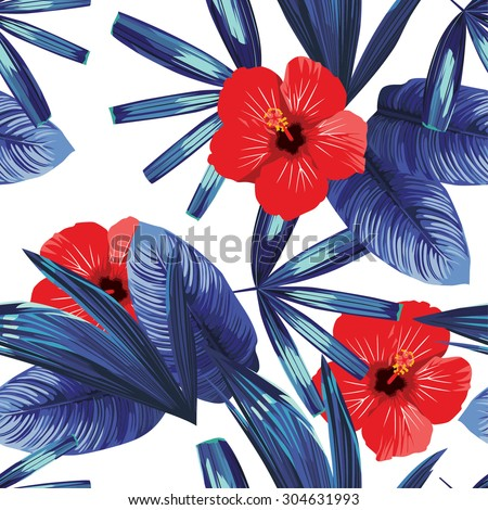 red hibiscus and blue palm