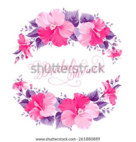 stock-vector-red-hibiscus-flower-wreath-with-calligraphic-text-for-bridal-shower-invitation-vector-illustration