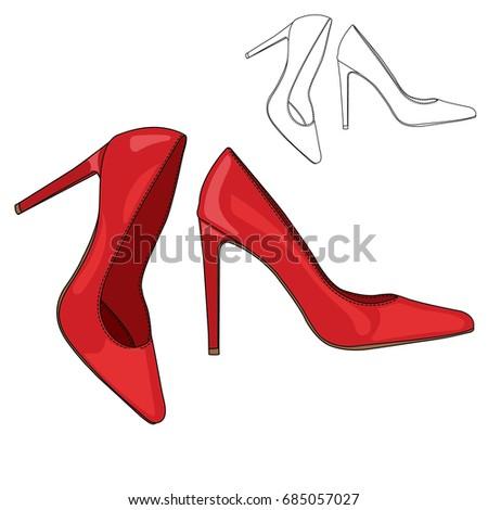 Captivating high heel shoe vector images