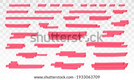 Red highlighter lines set isolated on transparent background. Marker pen highlight underline strokes. Vector hand drawn graphic stylish element Foto stock ©
