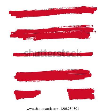 Red highlighter marker strokes. Vector brush pen underline lines.