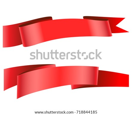 set of decorative red ribbon banners isolated on white ez canvas