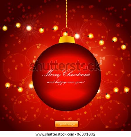 Red Holiday Xmas Ornament Vector Design. Christmas ball and lamp festive garland.