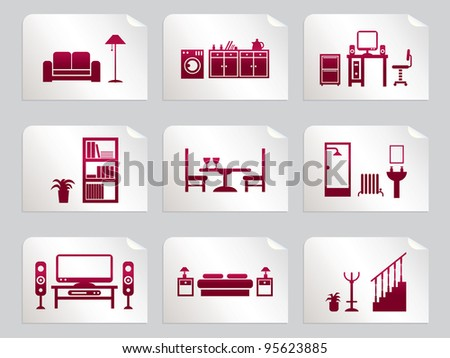 red home interior design icons on stickers - stock vector