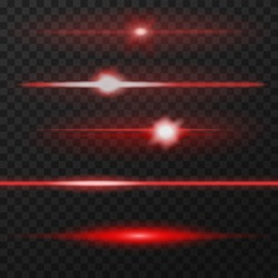 Red horizontal lens flares pack. Laser beams, horizontal light rays. Vector, eps10.